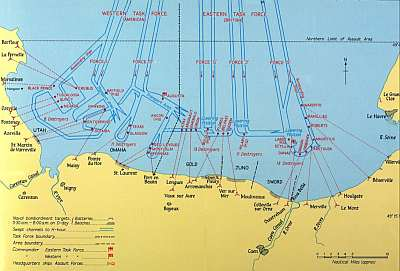 Naval bombardment plan for D-Day. Public domain, via Wikipedia.
