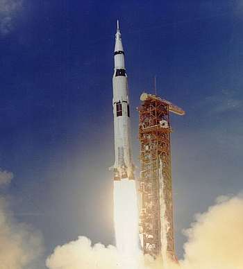 Launch of Apollo 11, atop a Saturn V booster. One of the readers of this blog's Dad was the pad safety officer for Apollo 11. How cool is THAT? Public domain, NASA.