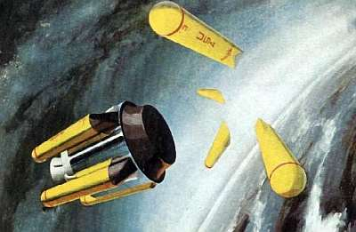 Project Deimos departs Earth orbit with one of Bono's colossal ROMBUS boosters. Public domain, NASA.