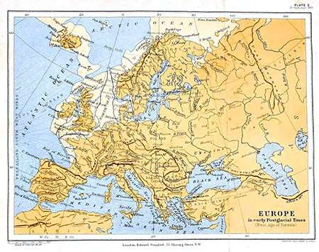 A 1905 map showing Europe at the height of the last glaciation, with modern names overlaid. Public domain.