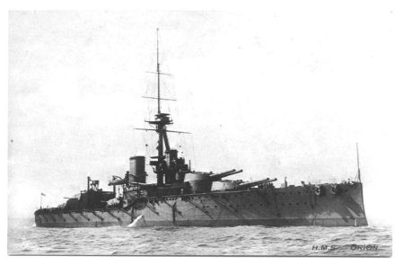 HMS Orion during the First World War. Public Domain, via Wikipedia.