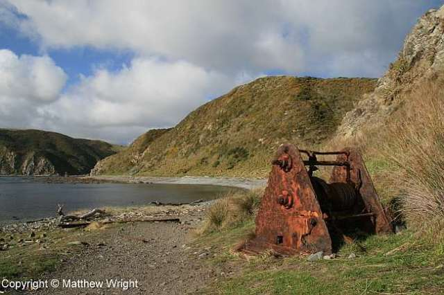 Old boat winch and rails, Makara Beach, winter 2014.