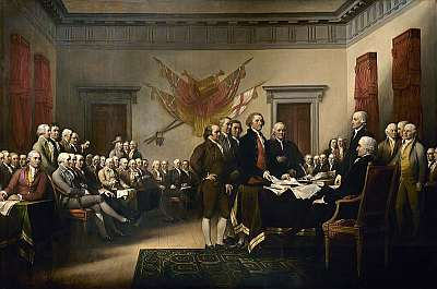 John Trumbull's painting, of the authors of the Declaration of Independence, depicting the five-man drafting committee of the Declaration of Independence presenting their work to the Congress. Public domain, via Wikipedia.
