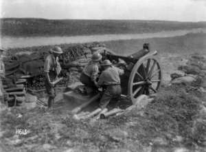 A New Zealand 18 pound gun in action at Beaussart, France, during World War I. Royal New Zealand Returned and Services' Association :New Zealand official negatives, World War 1914-1918. Ref: 1/2-013221-G. Alexander Turnbull Library, Wellington, New Zealand. http://natlib.govt.nz/records/22371427