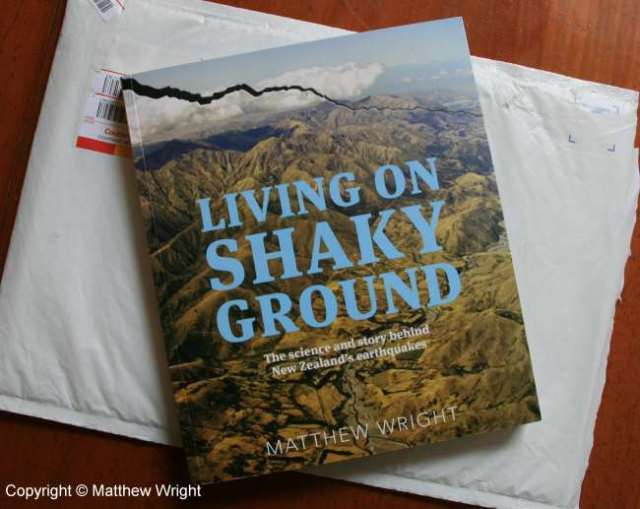 My advance 'author copy' of Living On Shaking Ground - with its delivery packaging...