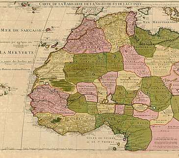 1707 map of North West Africa showing the arbitrary colonial divisions. Wikimedia Commons.