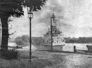 The KM Schleswig-Holstein during the Battle of Westerplatte that opened the Second World War. Public Domain.