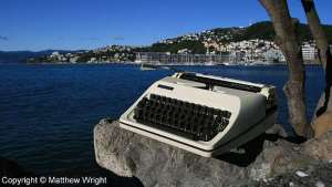 Yes, this IS my typewriter. What's it doing on the Wellington Writers Walk? Er - introductions...