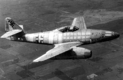 Messerschmitt Me-262 captured by the Allies, on test flight in the US. Public Domain.