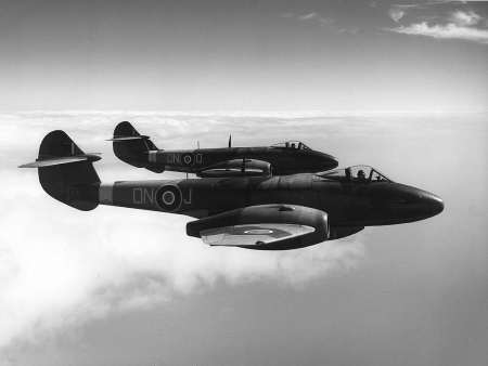 Gloster Meteor Mk III's, seen here during operations in 1944 - yup, the Allies had jet fighters at the same time as the Nazis.