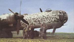 Heinkel He-177 four-engined bomber in Denmark, 1944. The engine arrangement - two engines in parallel - virtually guaranteed fires and bomber never worked properly. Public domain.