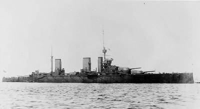 HMS Lion, Beatty's flagship, crippled at Dogger Bank by only a few hits. Public domain, via Wikipedia.