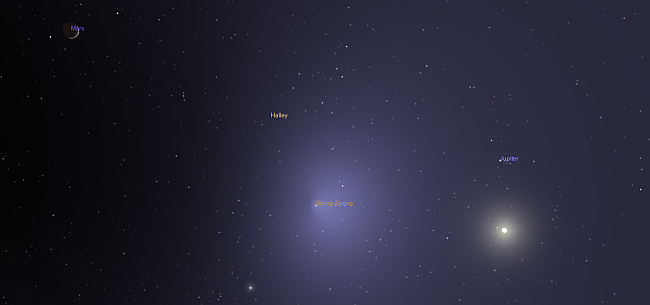 More shenanigans from my Celestia software. This is a view looking from inside the coma towards Mars and the Sun at closest approach.