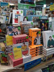 Aha - Clarkson's book on display in Whitcoulls, Wellington. My book directly behind his...