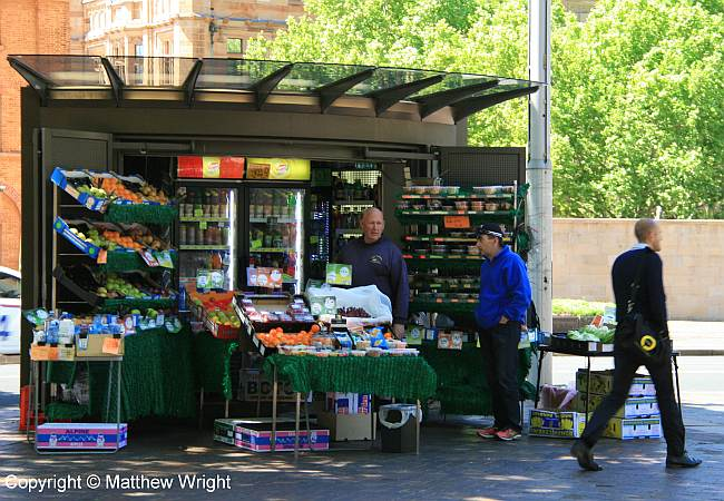 Fruit stand at the seaward end of Hyde Park, Sydney.