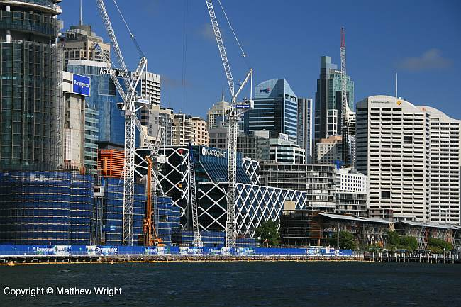 Development along the eastern shore of Darling Harbour, Sydney.