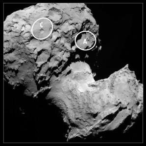 Potential landing sites on the double-lobed Comet 67P/Churyumov-Gerasimenko. Copyright ESA/Rosetta/MPS for OSIRIS Team MPS/UPD/LAM/IAA/SSO/INTA/UPM/DASP/IDA