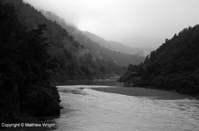 A monochrome Buller Gorge, one wet day early in 2013.