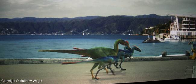 I often walk on the Wellington waterfront. Until now, I'd never met dinosaurs on it... More green-screen fun.