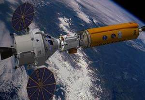 Orion with propulsion and habitat module for an asteroid mission. NASA, public domain.