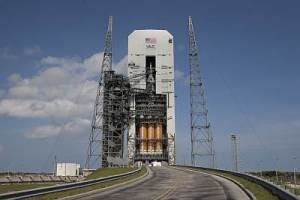 EFT-1 Orion being prepared to flight atop a Delta 4 Heavy. NASA, public domain.