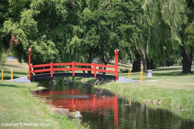 Japanese-style footbridge in Alexander Park, Napier.