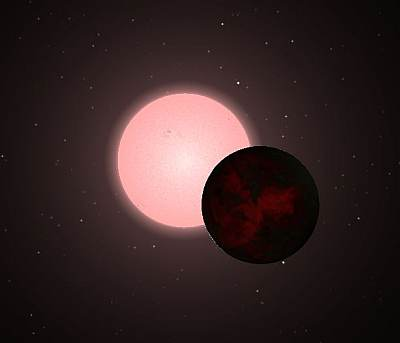 Conceptual picture I made of a red dwarf with large companion using my trusty Celestia installation.