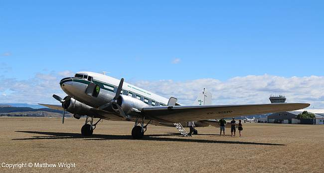 DC-3 ZK-AWP owned by Air Charter NZ Ltd, at Napier airport, February 2015.