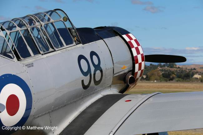 Former RNZAF Harvard at Napier airport, part of the 'Roaring Forties;' aerobatic team, February 2015.