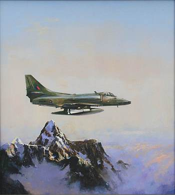 The original artwork for Kiwi Air Power by the RNZN's official artist Colin C Wynn, which I commissioned and which now hangs on my wall...