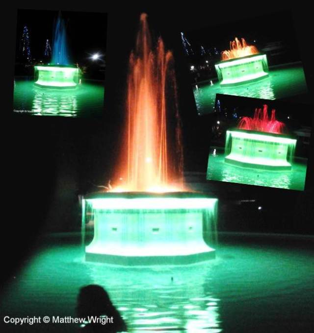 Tom Parker Fountain at night, Napier, New Zealand.