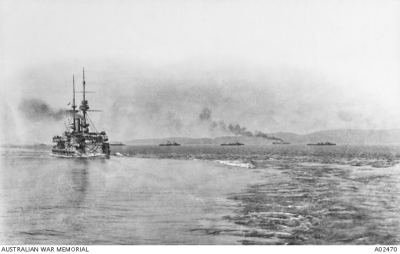 HMS Majestic, one of Britain's oldest battleships in 1915, leaving Lemnos for the Gallipoli landings at Anzac Cove. Australian War Memorial, Public Domain.