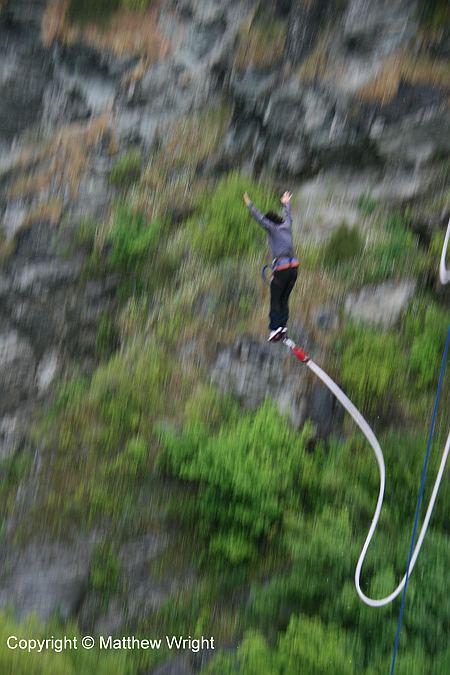 Aaaaaaaagh! This is someone - I have no idea who - bungy-jumping  off the old Kawarau Bridge, near Queenstown.