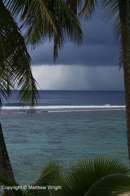 Tropical rain approaching in Rarotonga.