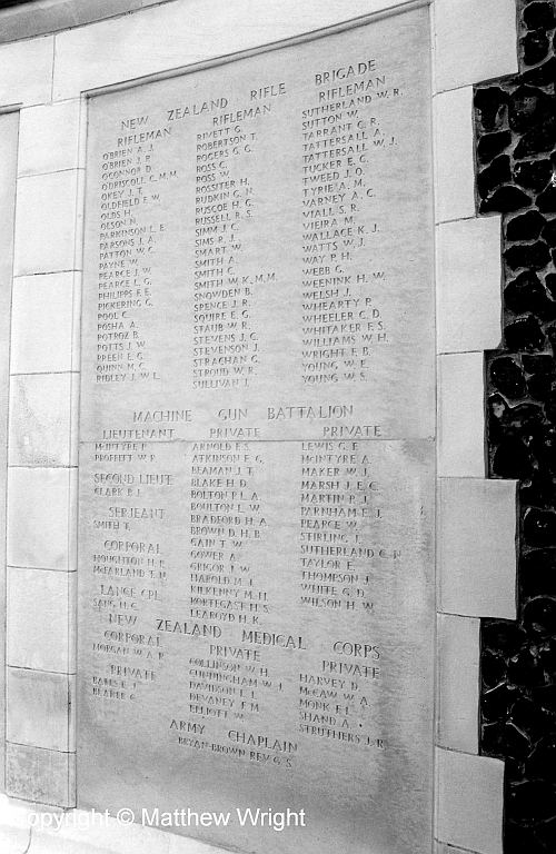 Names of the New Zealand dead, Tyne Cot cemetery, near Ypres.