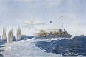 HMS Achilles of the New Zealand Naval Division at the Battle of River Plate, 13 December 1939. Artwork by John Lloyd. Lloyd, Arthur John, b 1884. Lloyd, Arthur John, b. 1884 :New Zealand's flag flies in the first naval battle of the war; H M S Achilles by skilful handling evades the shells of the Admiral Graf Spee [Auckland; 1940]. Ref: C-055-004. Alexander Turnbull Library, Wellington, New Zealand. http://natlib.govt.nz/records/23233527