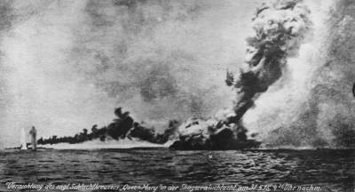HMS Queen Mary blows up at Jutland, as seen from the German lines. Public domain, Wikimedia Commons.
