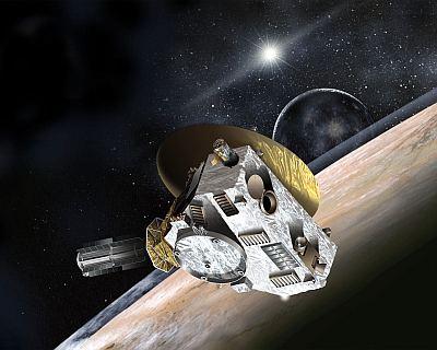 Artists' concept of New Horizons' encounter with Pluto, mid-2015. NASA, public domain, via Wikipedia.