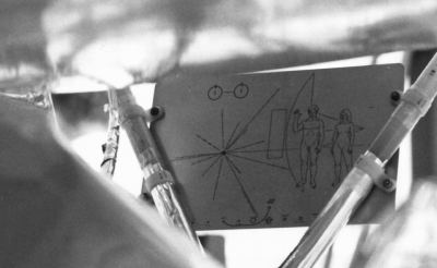 Message to aliens, affixed to Pioneer 10. It included images of humans, a route map of the probe's journey out of the Solar System, and information on the spin state of hydrogen.  Public domain, NASA, from http://grin.hq.nasa.gov/ABSTRACTS/GPN-2000-001621.html