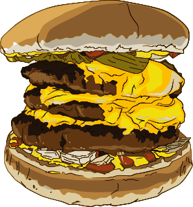 Triple cheesburger by Jpneok, public domain from https://openclipart.org/detail/204444/fast-food-triple-cheeseburger