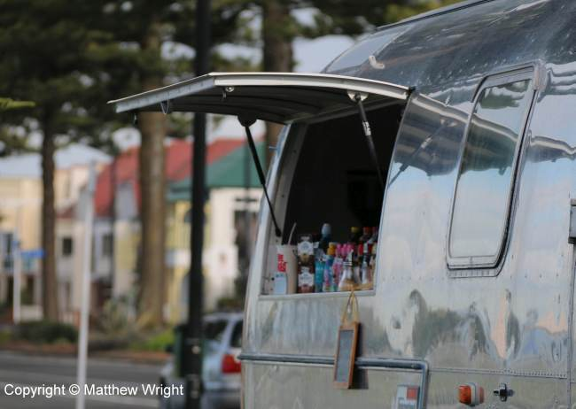 Coffee cart in an Airstream caravan, Napier, New Zealand - open for business...