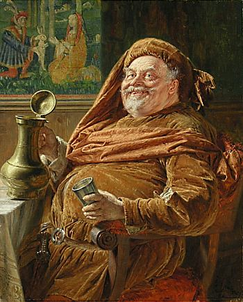 Sir John Falstaff with a jar of sack. Public domain, via Wikipedia.