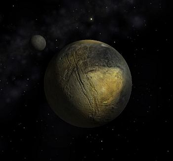 Simulated view of Pluto and Charon - speculative only at this stage - which I made with my Celestia software.