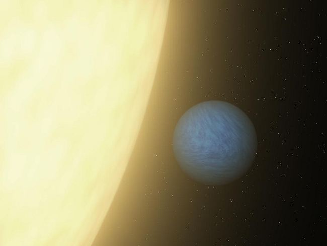 A planet the size of Uranus discovered orbiting the star 55 Canciri so close it takes just 18 hours to whisk around the star.  Click to enlarge. NASA/JPL-Caltech, public domain.