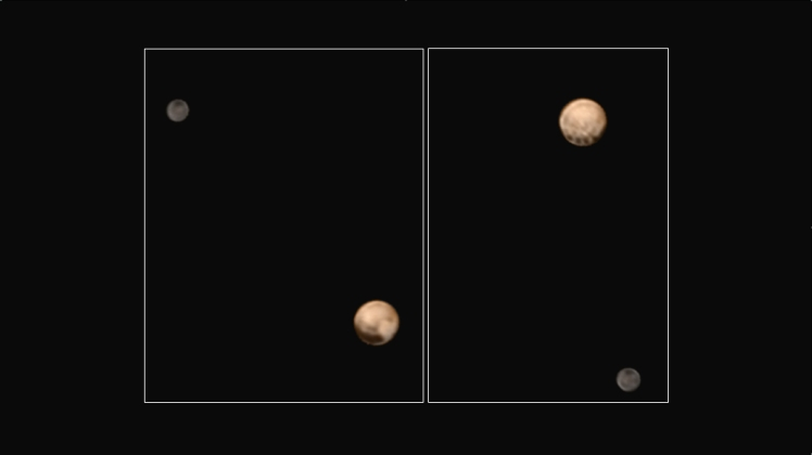 Pluto and Charon on 25 and 27 June 2015. Public domain, NASA/Johns Hopkins University Applied Physics Laboratory/Southwest Research Institute. Click to enlarge.
