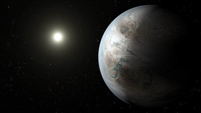 Artists' impression of K452b, showing the start of a suspected runaway greenhouse effect. NASA, public domain.