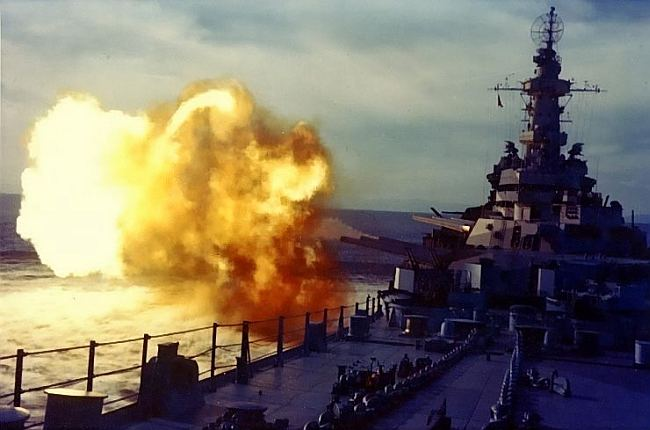 USS Missouri firing her 16-inch guns in 1944. US National Archives 80-G-K-4546, public domain.
