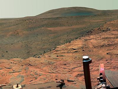 The real thing: 2007 view from the Spirit rover. NASA/JPL, public domain.
