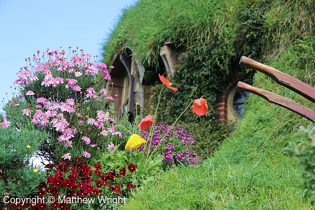 Flower garden at Bag End inside the Hobbiton Movie Set.