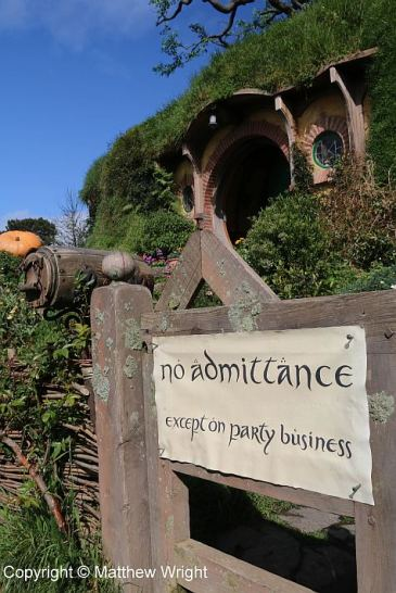 Outside Bag End on the Hobbiton Movie set.